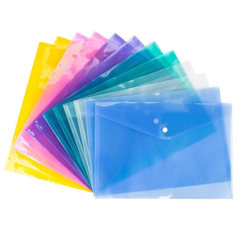 10Pcs Random Colors A4 Transparent Plastic Bag File Folder Document Filing Bag Stationery Bag School Office Supplies