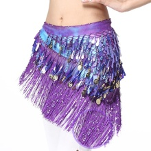 Belly Dance Costume Hip Scarf Coin & Sequin Belt Waist Dancer Wrap Skirt Outfit 918-091