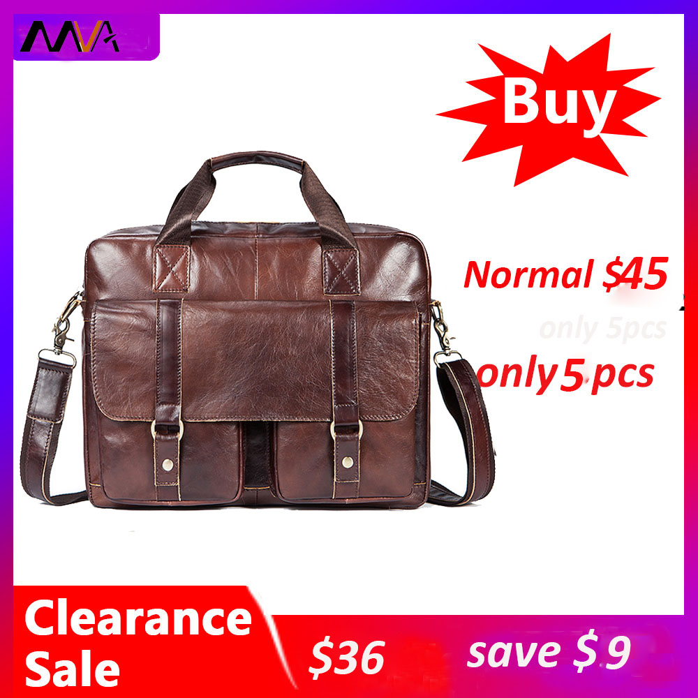 MVA Men Briefcases Bag Men's Genuine Leather Bags For Document Leather Laptop Bag Office Bags For Men Briefcases Totes 7804