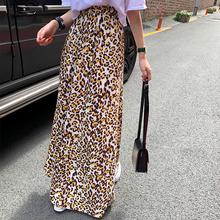 Skirts Spring Hit-Color Stright Floor-Length High-Waist Leopard for Autumn Loose Street-Style