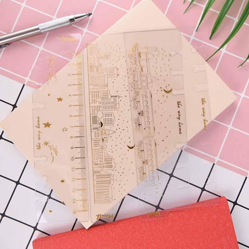 a6/3 pcs creative 6 holes binder planner notebooks gold foil index divider