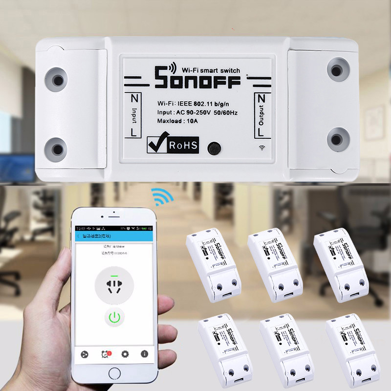 ITEAD Sonoff Basic R2 WiFi Wireless Basic Smart Switch Module ABS Shell Socket Automation Smart Home Supplies Dropship