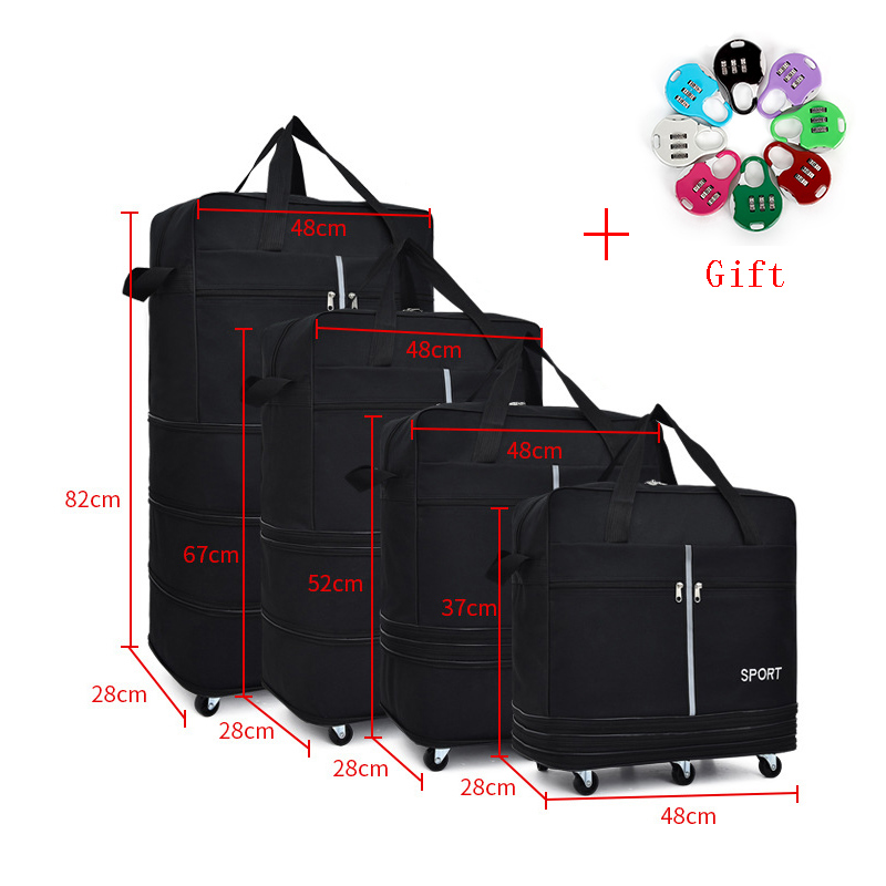 Large-capacity Portable Travel Bag Rolling Trolley Bag Air Roller Expandable High Quality Oxford Cloth Bag With Luggage Bag