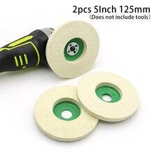 2x 5In 125mm Wool Felt Polish Wheel Pad Buffing Polishing Disc For Rotary Tools