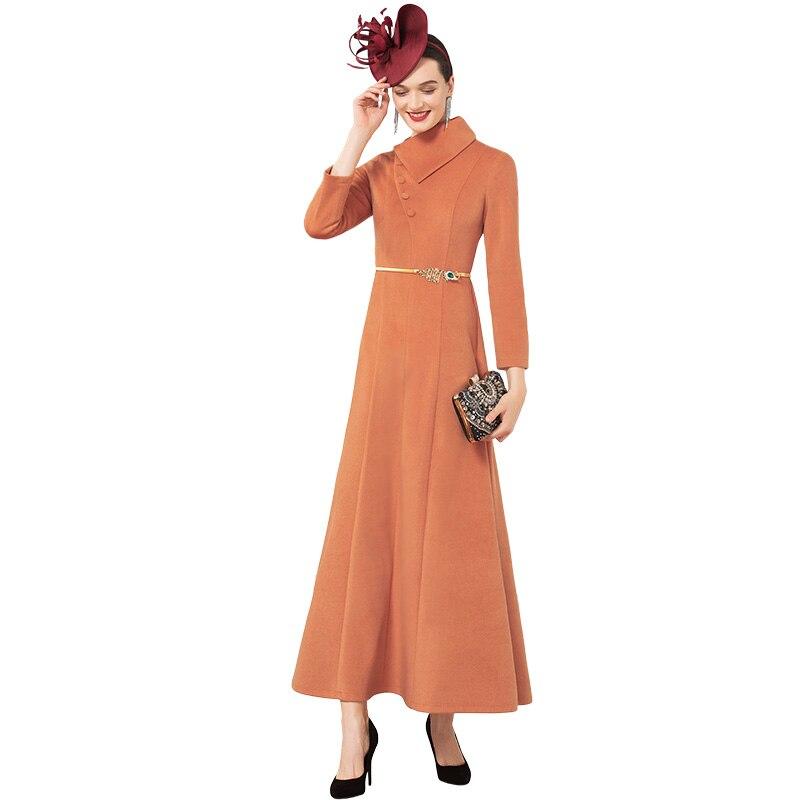 Office Lady Luxury Autumn Winter Cotton Wool Long Dress British Style New Year Party Night Dress Evening Maxi Clothing DZ2302