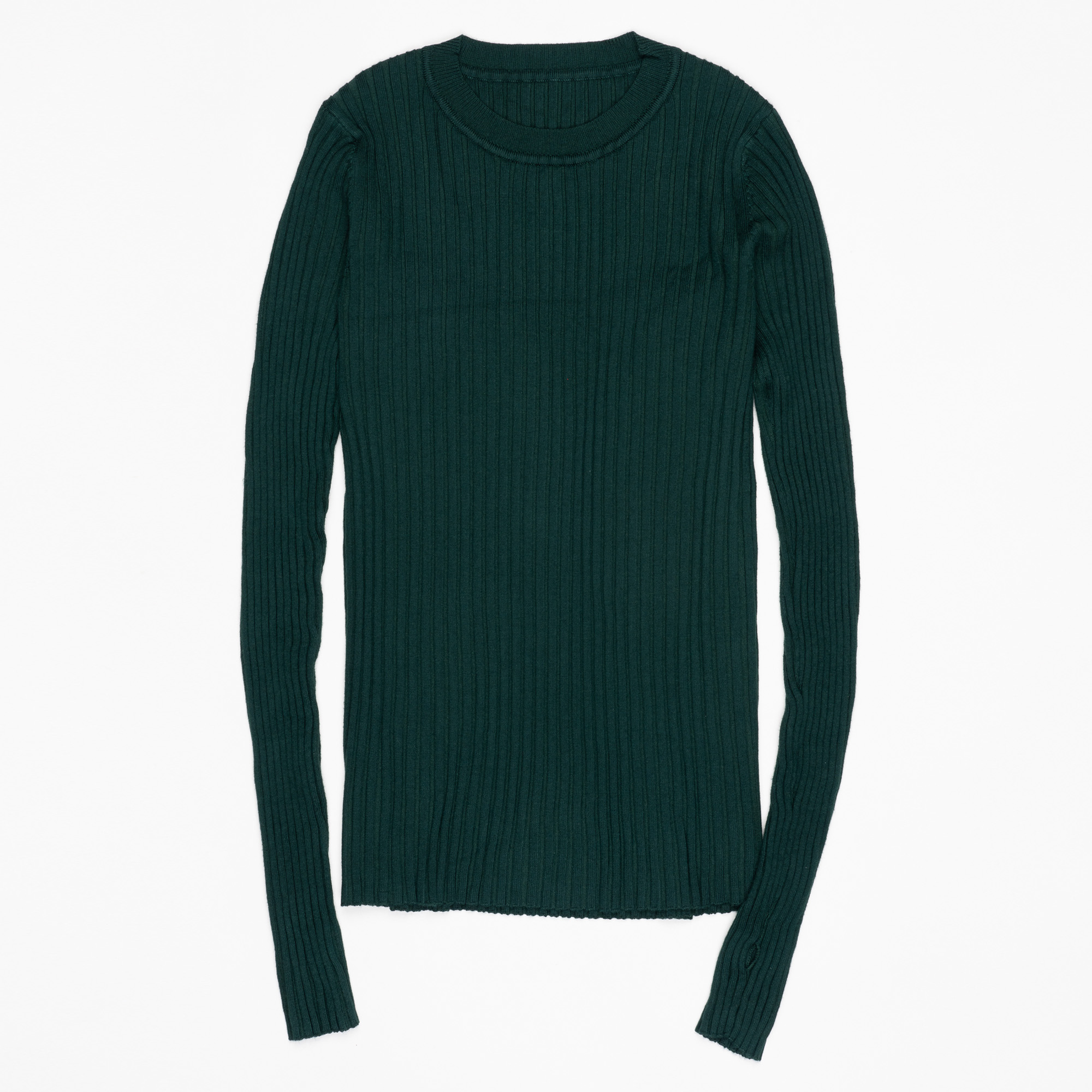Women Sweater Pullover Basic Ribbed Sweaters Cotton Tops Knitted Solid Crew Neck With Thumb Hole 25
