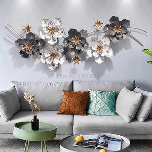 Arte del hierro decoración de pared un fondo de sala de estar decoración de pared colgante de Metal luz extravagante las flores decoraciones de pared
