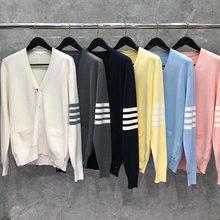 2021 moda tb thom marca suéteres masculino feminino fino ajuste com decote em v cardigans roupas listrado algodão primavera e outono casaco casual