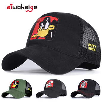 New Animals Donald Duck Embroidery Mens Baseball Cap Women Snapback Hip Hop cap Summer Mesh hat trucker gorra dad Bone