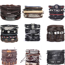 new 5PCS/lot 4 pieces Mix Styles Braided Bracelets Or 6pcs Leather For Men Wrap Bangle Party Gifts many styles Vintage