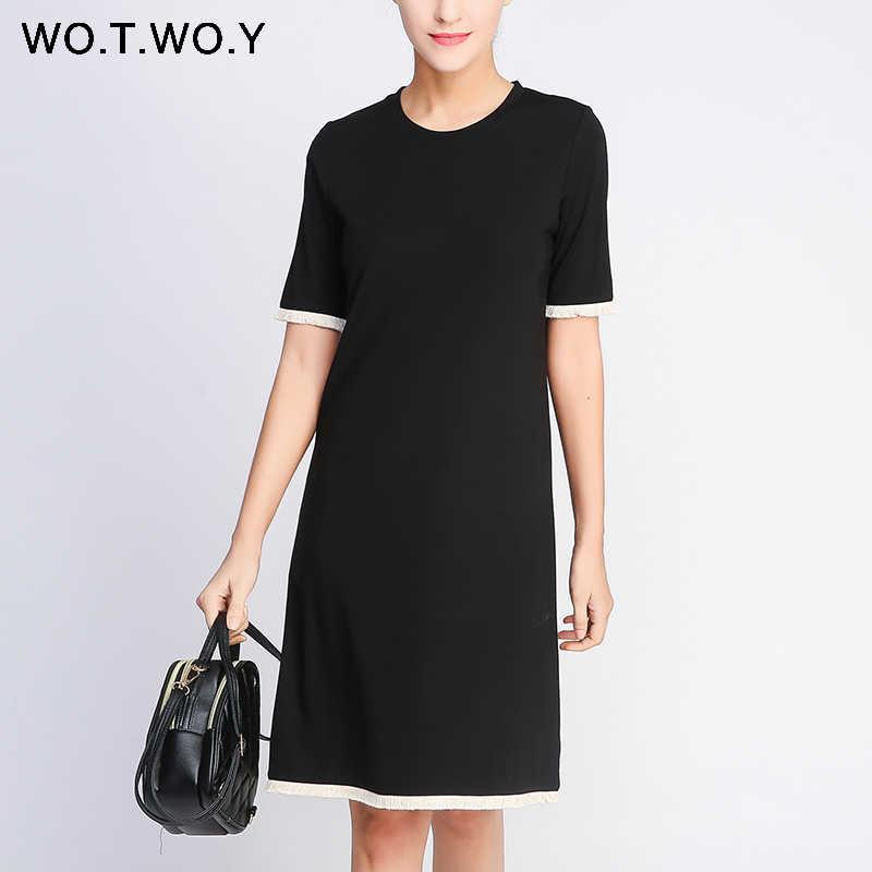 WOTWOY летнее платье с кисточками и О-образным вырезом, прямое платье 2019, зеленое черное повседневное Элегантное Платье До Колена, женские платья размера плюс, женская одежда
