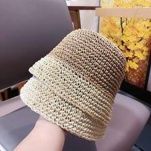 Шляпа женская летняя соломенная Панама с цветными блоками для