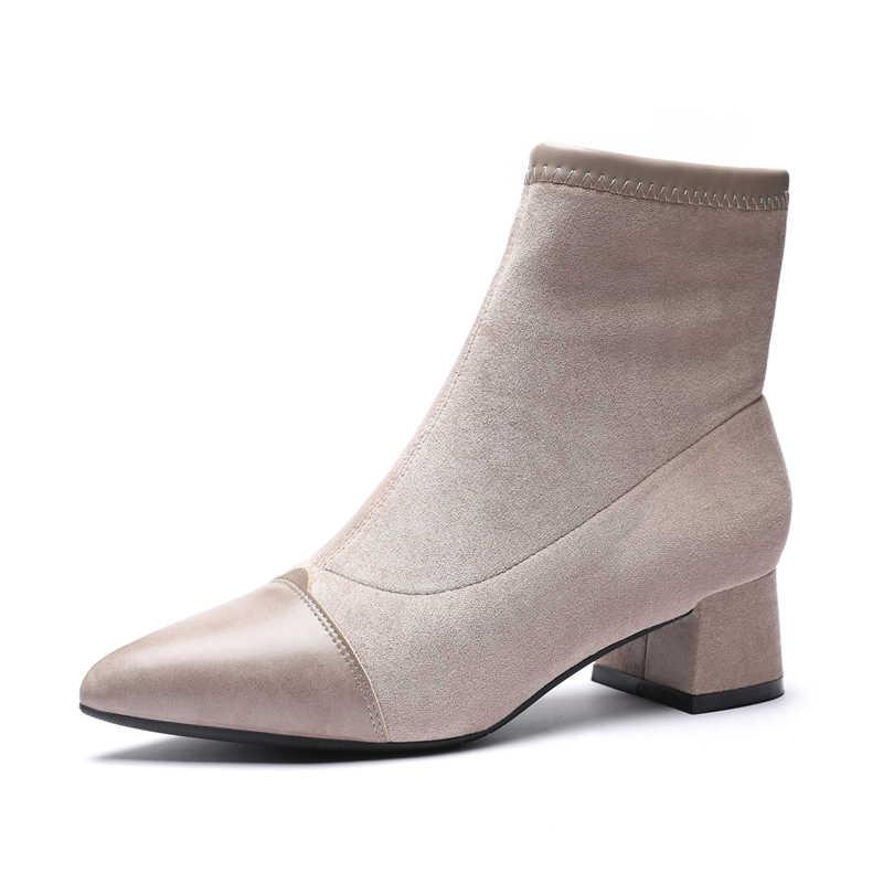 Kadın çizmeler ayak bileği kısa çizmeler akın sivri burun kare topuklu kış peluş patik kadın 2019 üzerinde kayma Martin çizmeler siyah bej