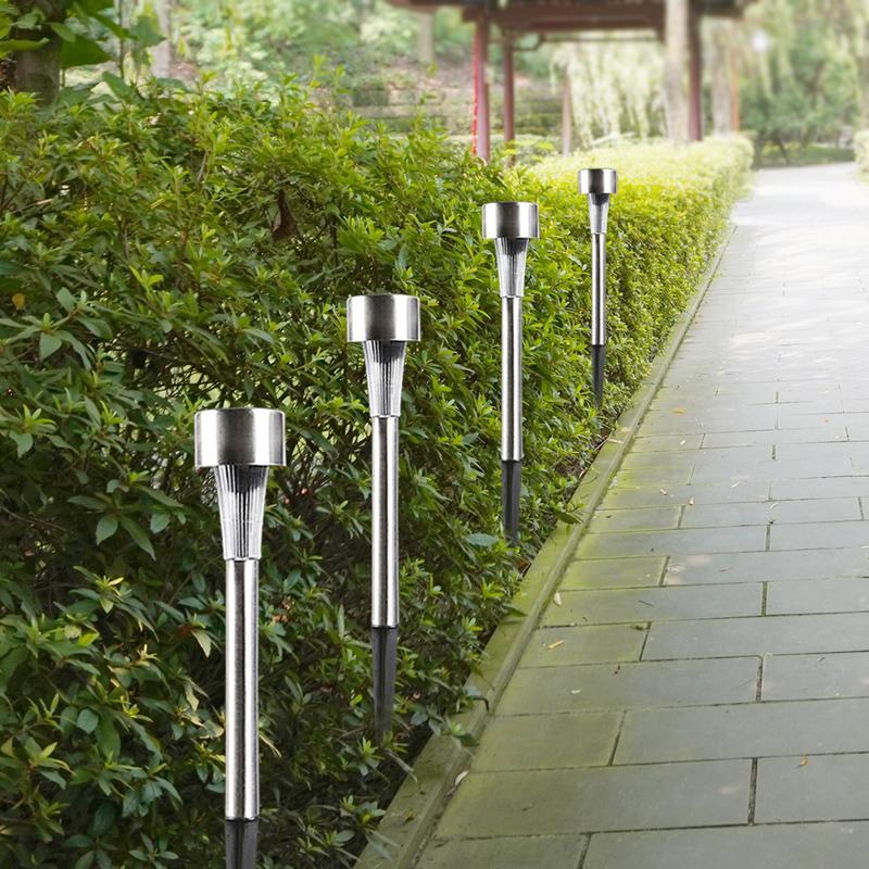 10pcs/lot Stainless Steel Led Solar Lawn Light Outdoor Solar Power Decking Light Waterproof IP65 Garden Landscape Lawn Lamp