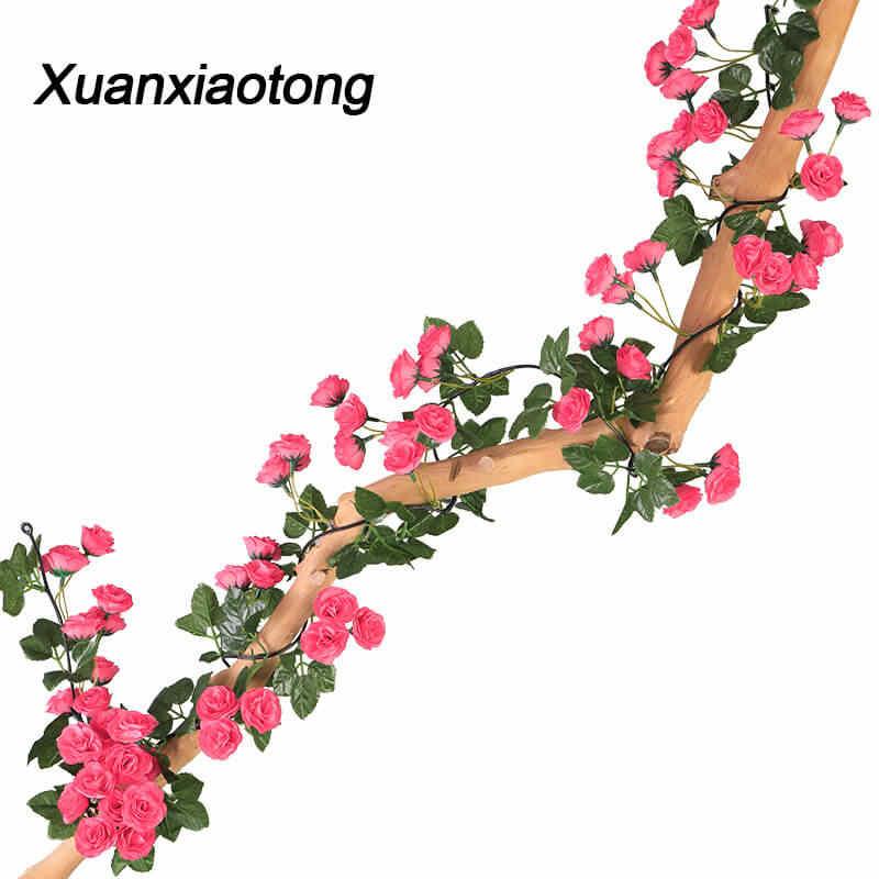 180cm 69 Heads Artificial Silk Rose Silk Fake Flower Vine Home Outdoor Decor