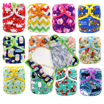 MABOJ Diaper Cover Couche Lavable Bebe OS One Size Cloth Diapers Baby Covers Newborn Nappy Waterproof Double Gusset Washable