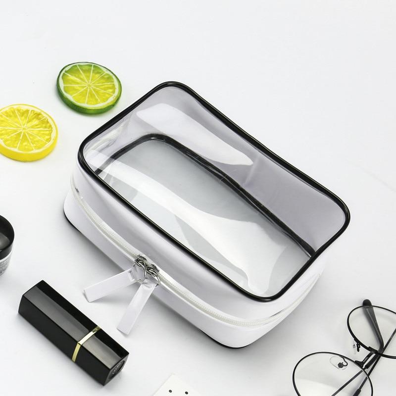 PURDORED 1 Pc  Transparent Cosmetic Bag PVC Waterproof Women Makeup Bag Travel Zipper Clear Organizer Bag Maleta De Maquiagem