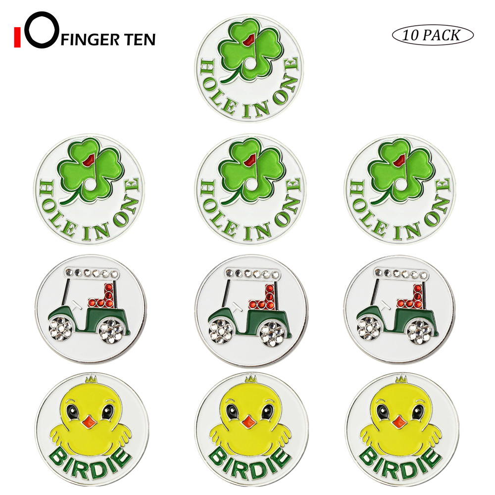 Assorted Patterns Golf Ball Markers Fits All Magnetic Golf Tools Value 10 Pack Alloy Soft Enamel Technique
