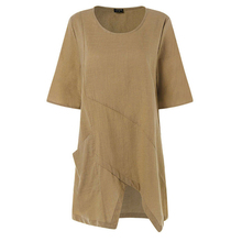 Women Cotton Linen Blouse Solid Asymmetrical Ladies Summer New Short Sleeve Tops Casual Crew Neck