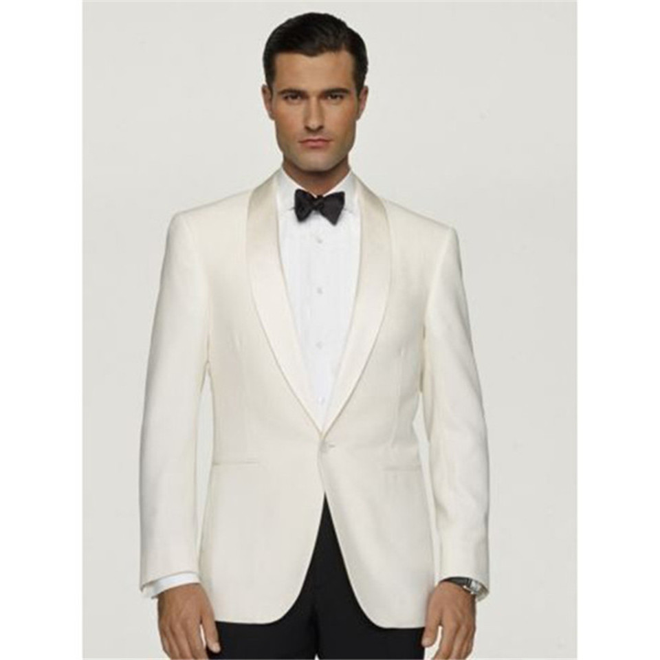 New Men's Suit Smolking Noivo Terno Slim Fit Easculino Evening Suits For Men Ivory Groom Tuxedos ( Jacket+Pants) Groomsmen