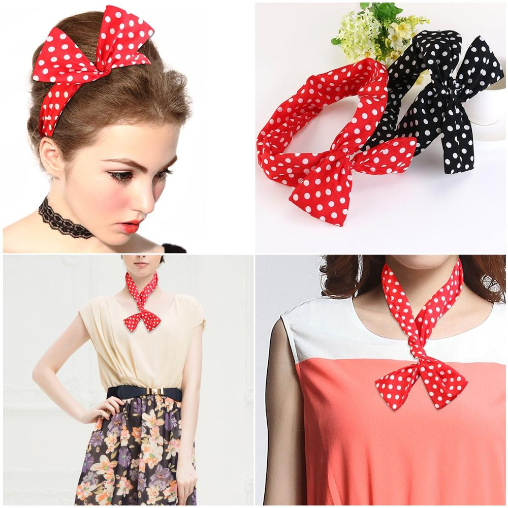 Multicolor Dot  Wire Headband  Hair Accessories Band Polka Dot Rockabilly Scarf 1950s For Women