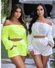 Adogirl Solid Color Plush Two Piece Suit Long Sleeve Off Shoulder Crop Top +Lace Skinny Shorts Tracksuit Autumn Casual Outfits