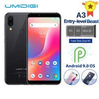 "UMIDIGI A3 Globale Band Dual 4G 5.5 ""incell HD + display 2GB + 16GB Del Telefono Mobile quad Core Android 9.0 Viso Sbloccare 12MP + 5MP Smartphone"