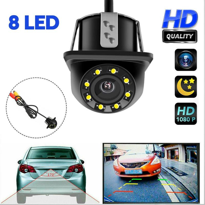 Car Rear View Camera 8 LED Round Back Up Camera Night Vision Reversing Auto Parking Monitor 170 Degree Rearview Camera