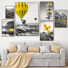 Nordic Posters And Prints Natural Landscape Canvas Print Wall Painting Hot Air Balloon Art Poster Pictures For Living Room
