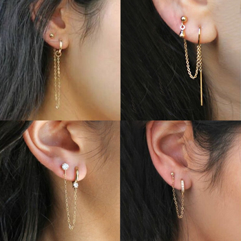 Dangle Eardrop Tassel Drop Earrings Punk ear Stud fashion Earrings Korean Of Jewelry Retro Long Earrings Chain Clip Wholesale image