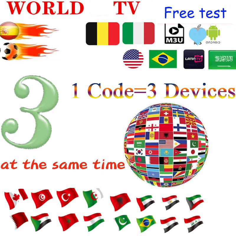 HD World IPTV 9000+ TV 6500 V HD Best For Europe Arabic Asian Africa Latino America  Subscription Support 3 Devices