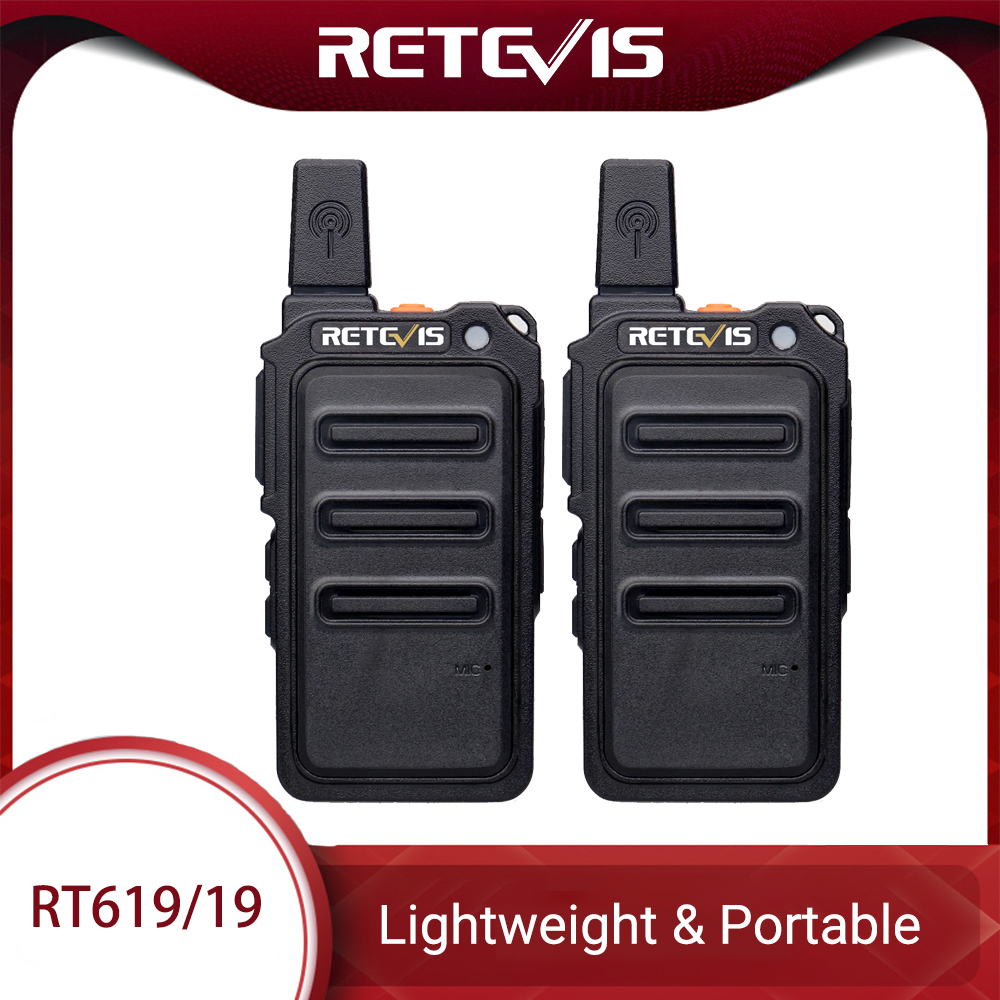 Mini Walkie Talkie Radio Station 2pcs Retevis RT619 Scrambler Ultrathin Fuselage Two Way Radio Portable PMR446 FRS VOX USB