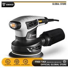Deko lixadeira elétrica qd6206, lixadeira elétrica sander com velocidade variável com compartimento para poeira e 15 lixas