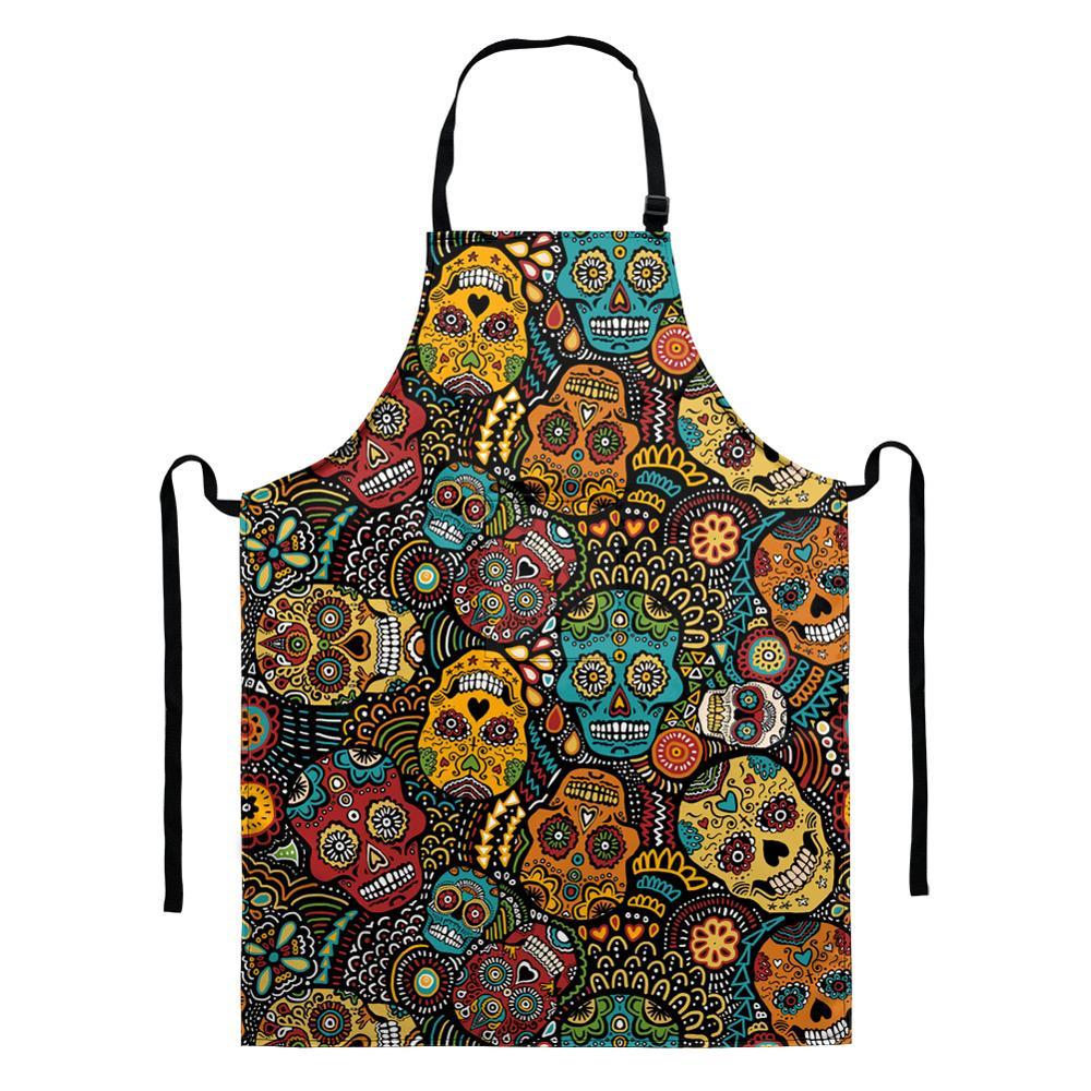 Мультяшный фартук для кухни для женщин и мужчин, винтажные аксессуары для выпечки в виде черепа сахара, нагрудники для шеф-повара, официанта...