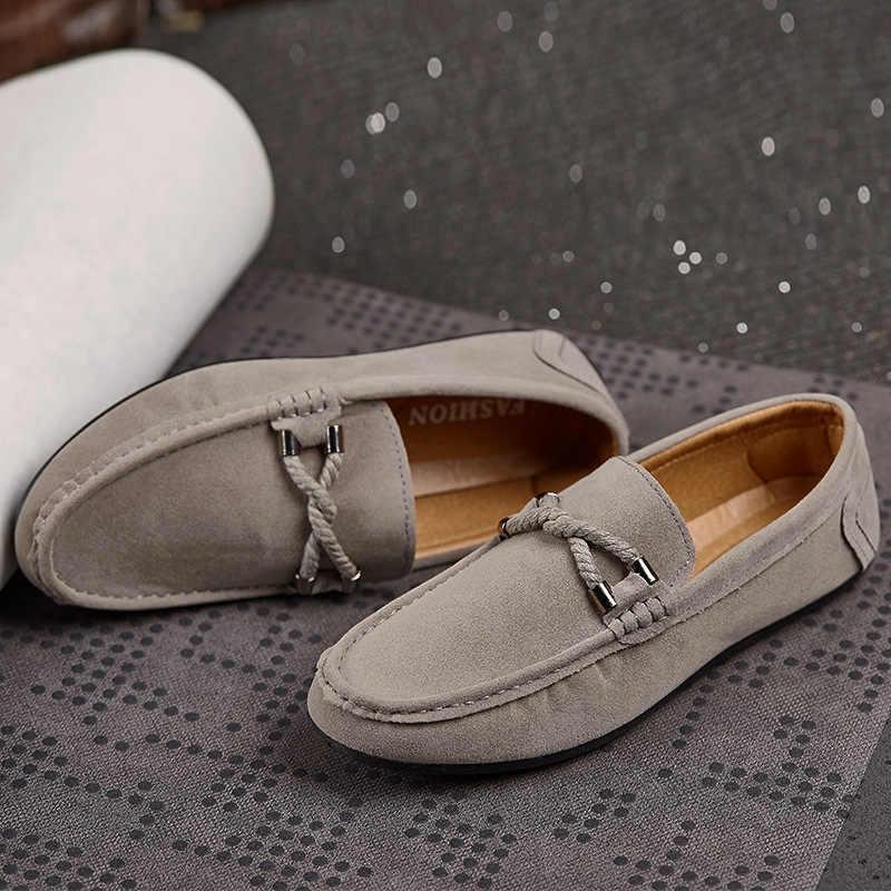 Yeni erkek mokasen rahat düz rahat ayakkabılar erkekler nefes Slip-On yumuşak deri sürüş ayakkabısı Moccasins 2019 yeni
