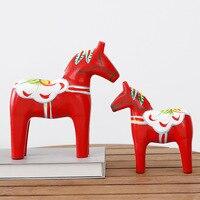 Painted red horse Swedish Dala horse set Creative wooden crafts decoration European home wedding decoration