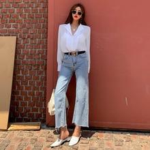 QoerliN Bran New Jeans Vintage Women Pants Denim Korean New Fashion Vintage Loose Old Light Blue Ankle Length Trousers S-XL
