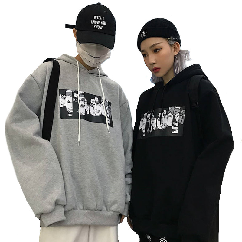 2019 Autumn Couple Anime Naruto Hoodie Men Women Hooded Sweatshirt Casual Harajuku Hoodies Cartoon Printed Tops Plus Size S-2XL