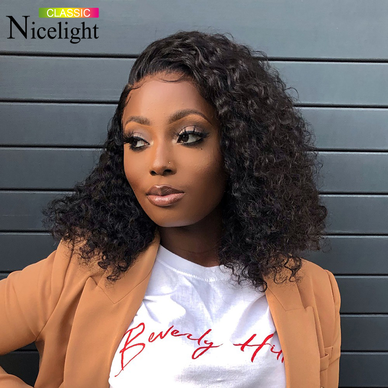 Nicelight Hair 13x4 Lace Front Bob Wig Jerry Curly Hair Wig Brazilian Human Hair Wigs Natural Color Remy Hair Wig 8-16 Inch Wigs