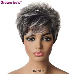 Image 4 - 合成繊維の毛の女性ショートボブストレート高温髪かつら耐熱髪に