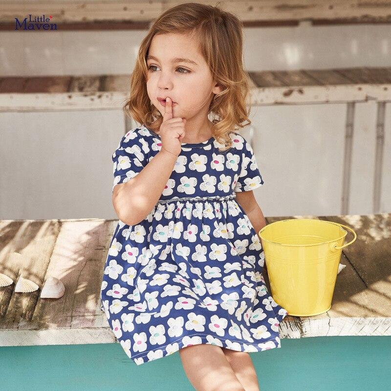 Little Maven 2021 New Summer Baby Girls Clothes Brand Dress Toddler Cotton Dot Bunny Flower Print Dresses for Kids 2-7 Years 1