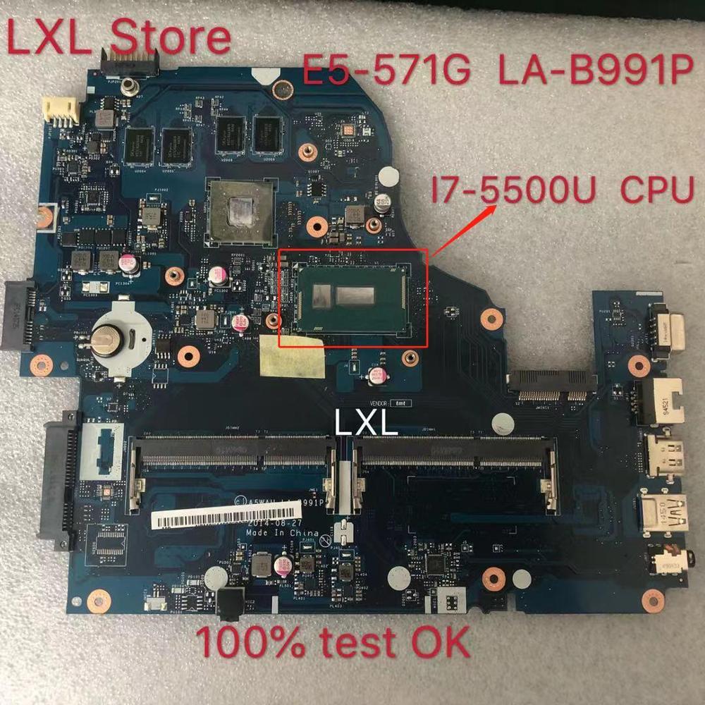 LA-B991P Laptop Motherboard For Acer Aspire E5-571G E5-571 I7-5500U DDR3 100% Test Ok