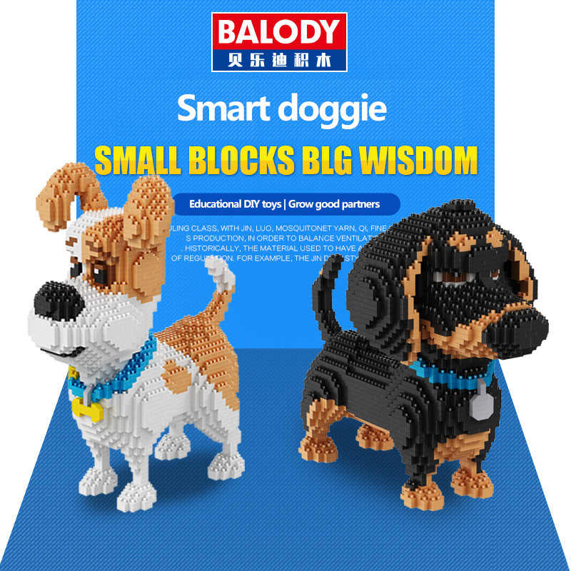 Balody 16043 Mini Cute Corgi Dog Building Blocks Bricks Toy Animal Poodle Model Brinquedos Husky Toys for Children Lovely Gifts