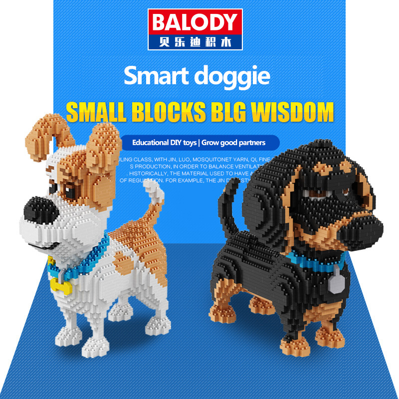 Balody 16043 Mini Nette Corgi Hund Bausteine Ziegel Spielzeug Tier Pudel Modell Brinquedos Husky Spielzeug für Kinder Schöne Geschenke