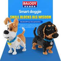 Balody 16043 mini bonito corgi cão blocos de construção tijolos brinquedo animal poodle modelo brinquedos husky para crianças adoráveis presentes