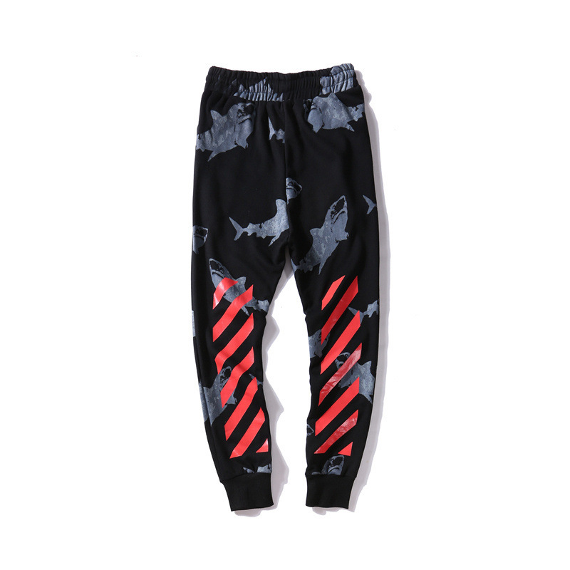 Japanese-style Popular Brand Ow Shark Shading Printed Bouquet Foot Trousers Men'S Wear Teenager Casual Sweatpants