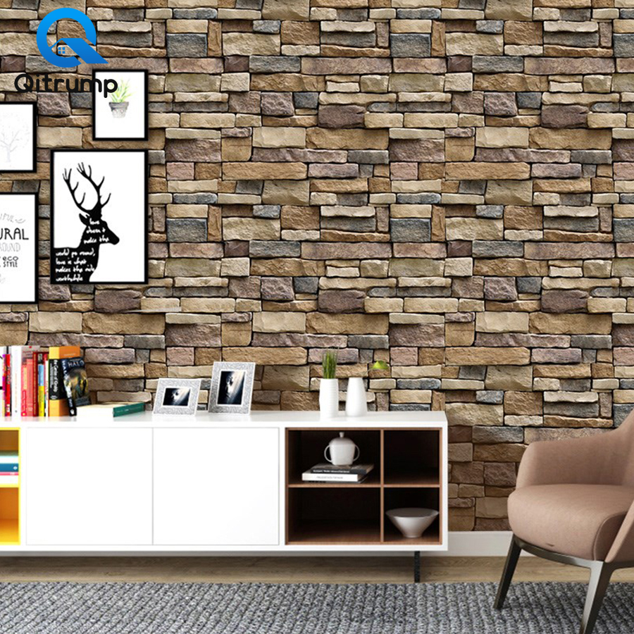 PVC Vintage Brick Stone Rustic Waterproof Wallpaper Home, Pets and Appliances Wall Papers