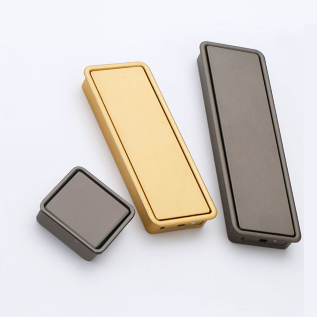10Pcs Golden Hidden Door Handles Zinc Alloy Recessed Flush Pull Cover Floor Wardrobe Cabinet Handle Home Furniture Hardware