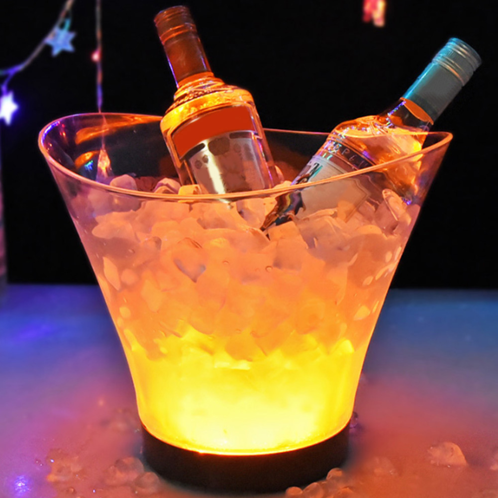 LED Ice Bucket 6L Champagne Bar Supplies Home Waterproof Drinks Colorful Light Decor Transparent Festival Nightclub Wine Cooler Party Beer