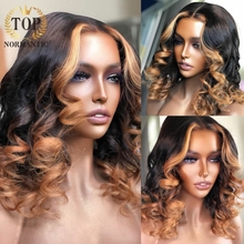 Wigs Human-Hair Lace-Front Brazilian Short Topnormantic Highlight-Color Bob Deep-Wave